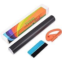 FOSHIO 3D Carbon Fiber Vinyl Film Wrapping Kit Set with Self-Adhesive Car Vinyl Film, Professional Paper Cutter, Blue Felt Edge Squeegee Car Bike Van Wrap Tool Applicator, Black,150x30CM