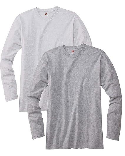 d9620e91 Hanes mens 4.5 oz. 100% Ringspun Cotton nano-T Long-Sleeve T-Shirt (498L)  ASH/LIGHT STEEL | Amazon.com