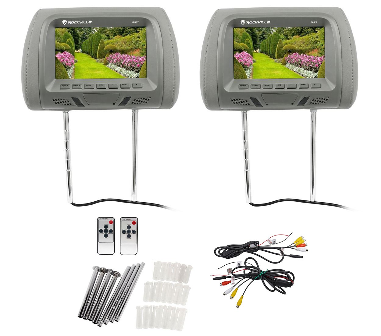 "Pair Rockville RHP7-GR 7"" Grey TFT-LCD Car Headrest TV Monitors w/Speakers+IR"
