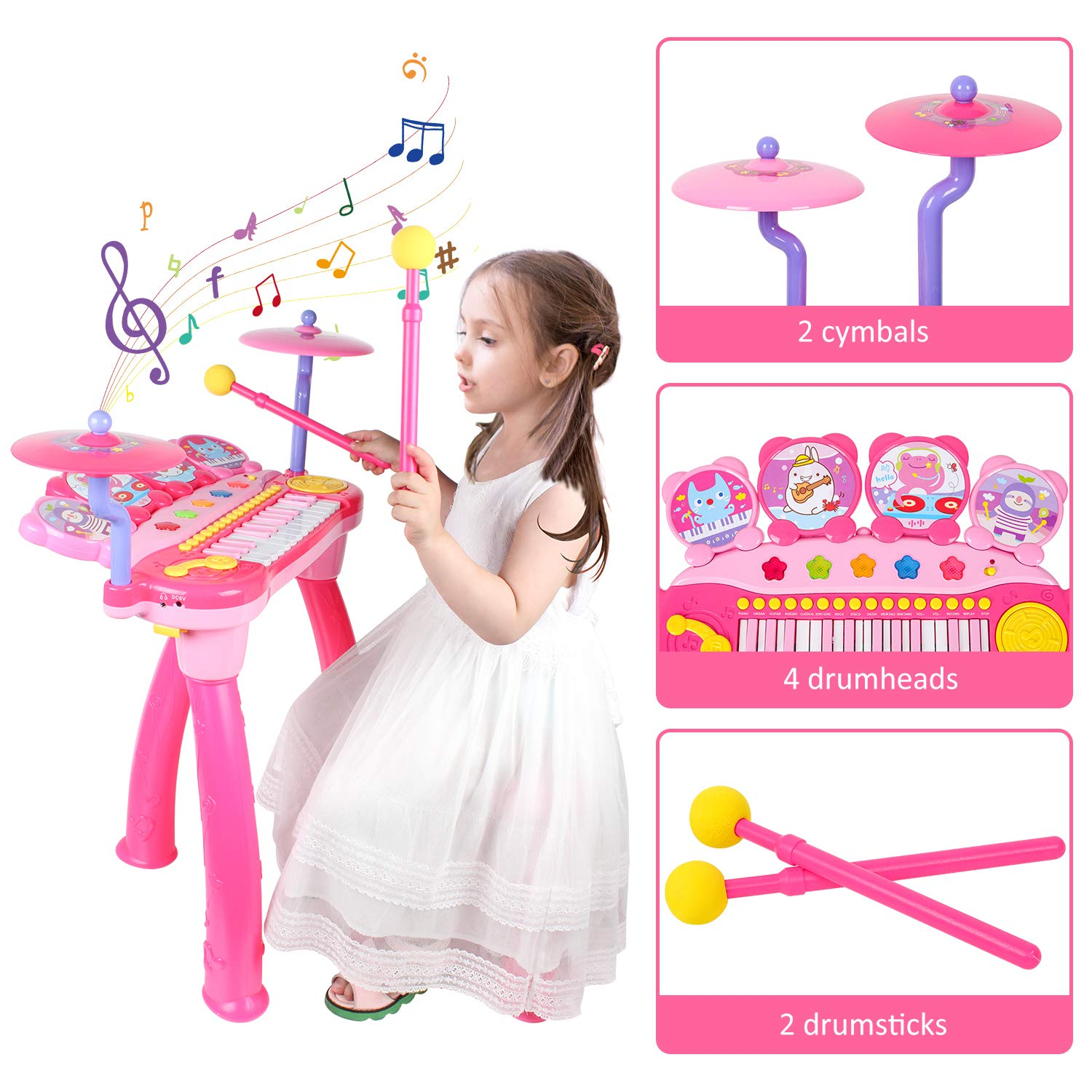 Shayson Kids Piano Keyboard with DJ Drum Multi-Functional Electronic 24 Key Piano Music Learning Keyboard Toys with Microphone Kids Birthday Gifts for Toddlers Baby