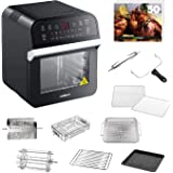 GoWISE USA 12.7-Quart 15-in-1 Electric Air Fryer Oven w/Rotisserie and Dehydrator, 1600W + 10 Accessories and 50 Recipes for Your Air Fryer Oven Book (Black)