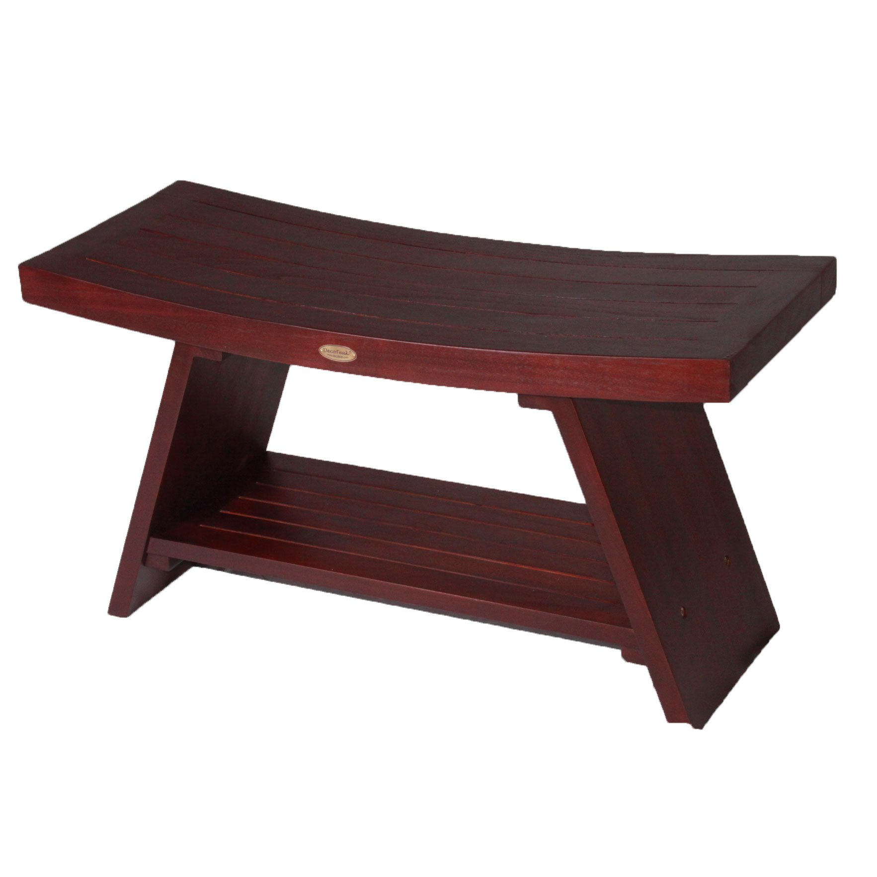 DecoTeak Serenity 35'' Eastern Style Teak Shower Bench With Shelf