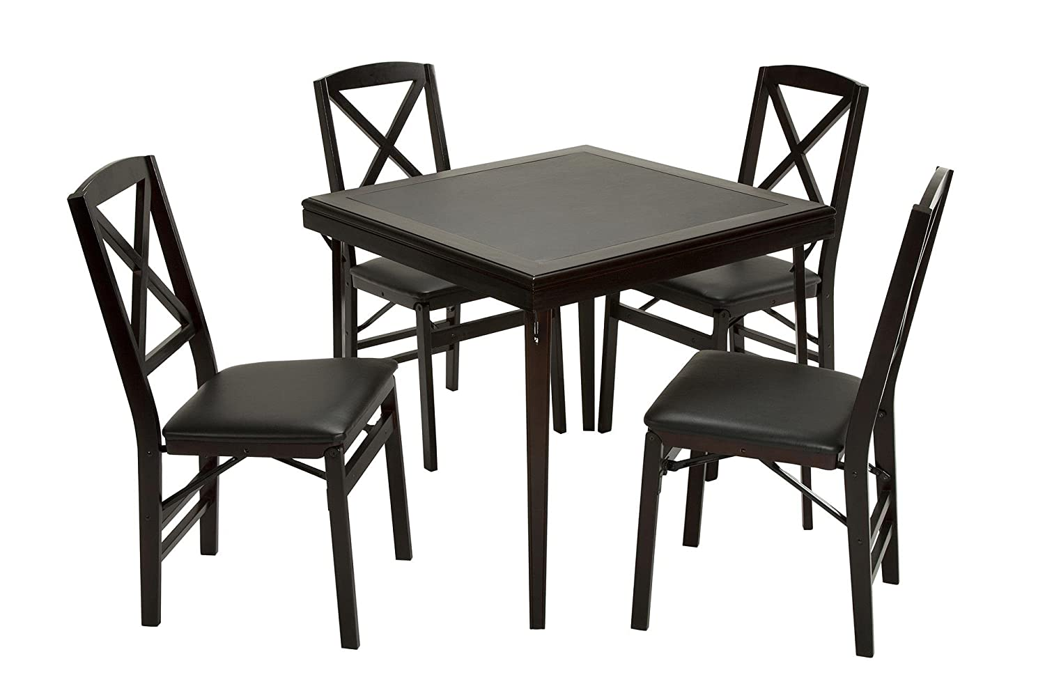 Amazon.com: Cosco Folding Espresso Wood Table Square with Vinyl ...