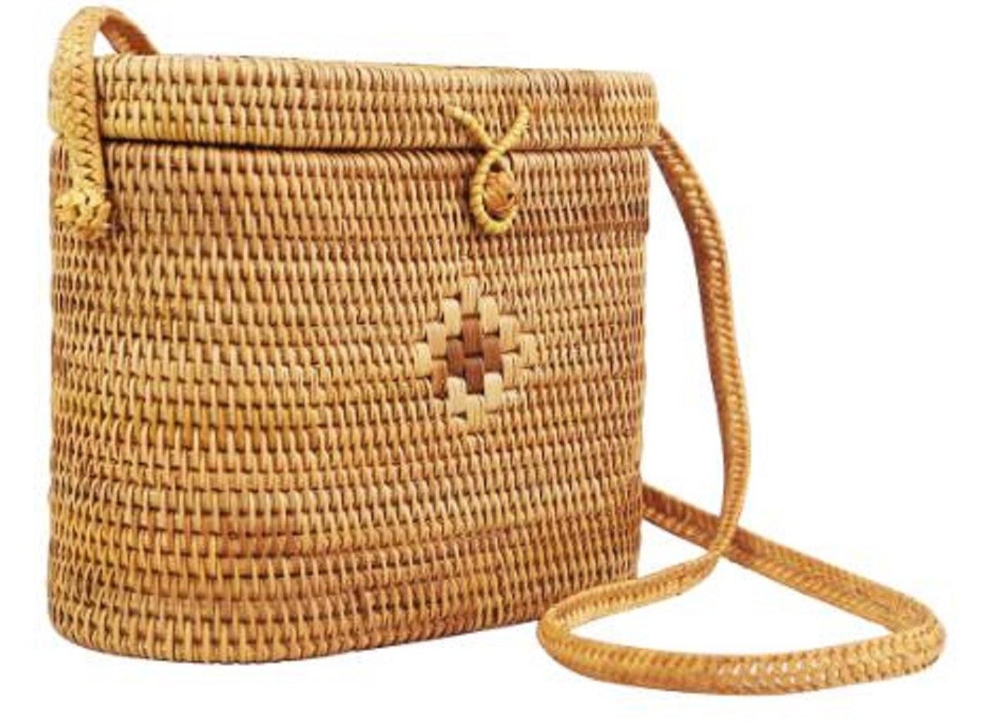 ccc180edf5 Lush Leather Lush Handmade Woven Round Cylinder Handwoven Pattern Weave  Designs Rattan Straw Wicker Basket Shoulder Bag  Amazon.in  Home   Kitchen