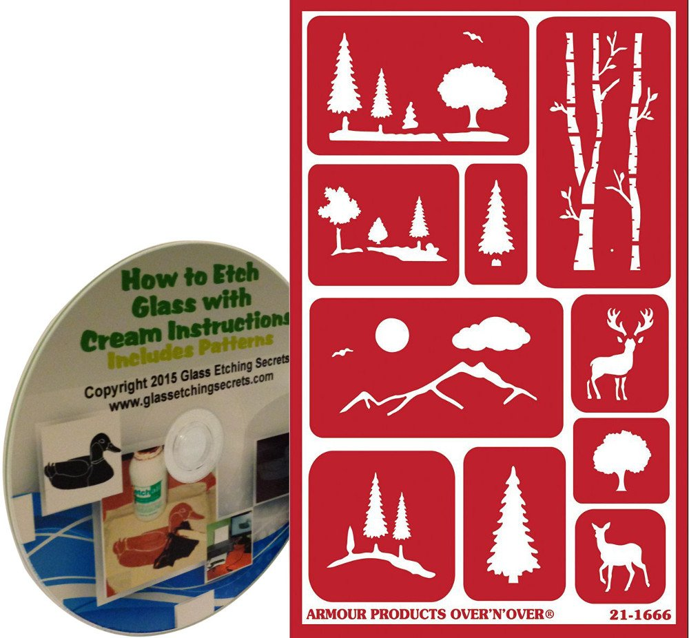 How To Etch Glass Amazoncom Scenic Landscape Glass Etching Stencils With Trees