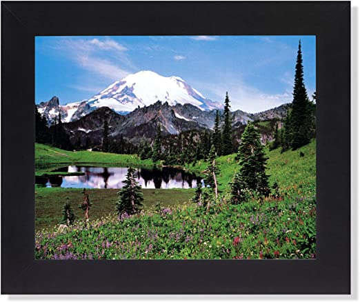 Mount Rainier Lake Reflection Snow Mountain Scenery Landscape Art Framed Picture