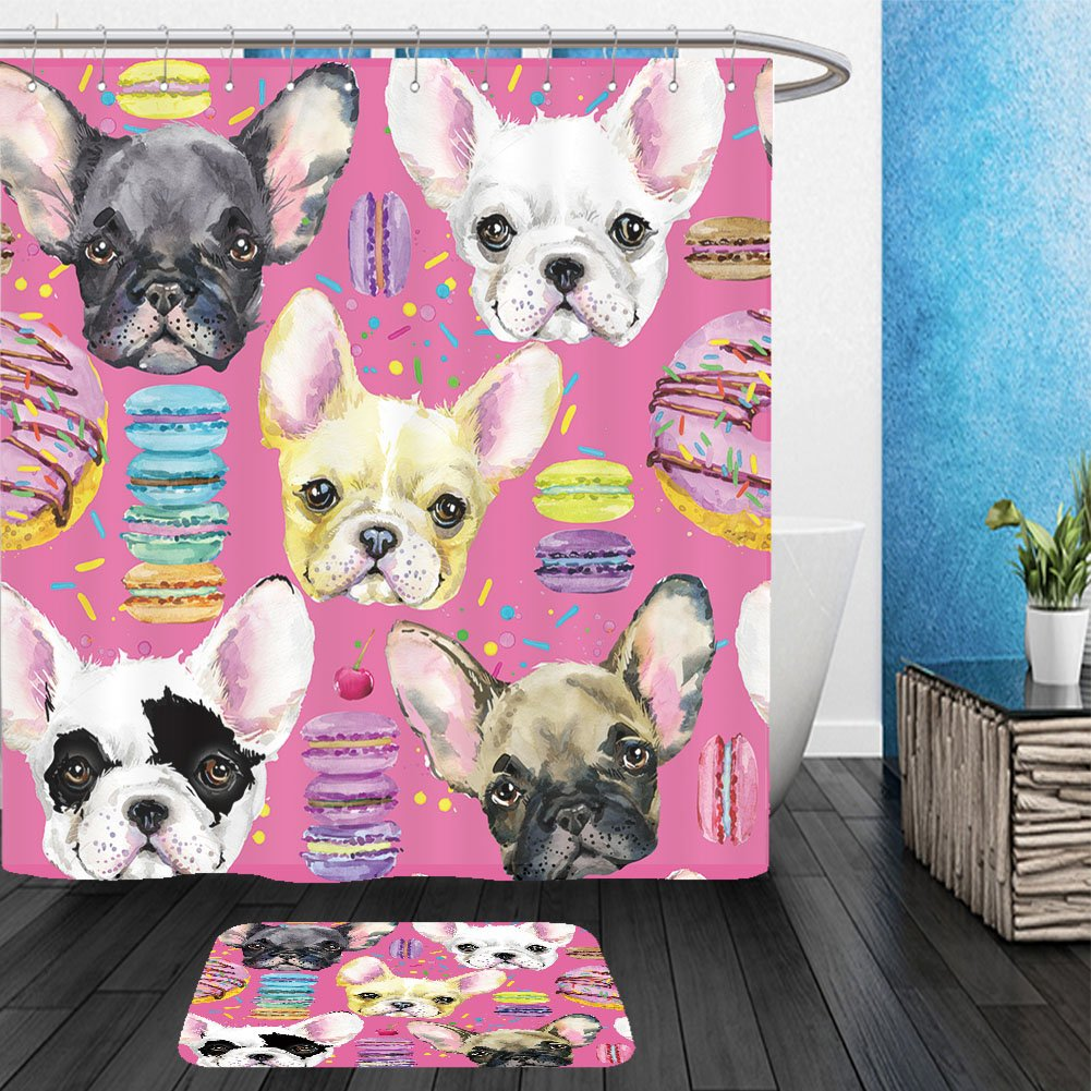 Vanfan Bathroom 2 Suits 1 Shower Curtains & 1 Floor Mats cute dog seamless pattern french bulldog puppy watercolor illustration fashion print sweet 407298328 From Bath room