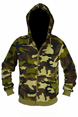 Army Fleece Zip Hoodie Hooded Sweatshirt Jacket Camouflage  Amazon ... 3d0ca779e