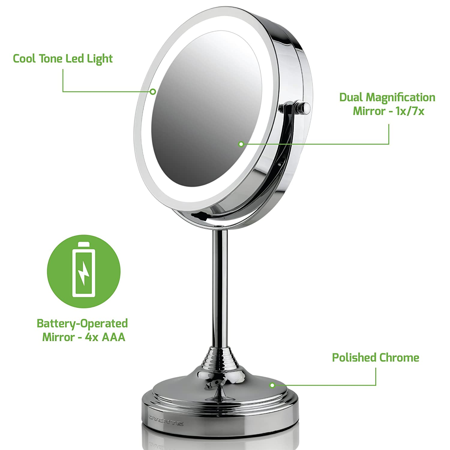 Ovente LED Lighted Tabletop Makeup Mirror, 7 Inch, Dual-Sided 1x/7x Magnification, Polished Chrome (MCT70CH1X7X) Ovente (Beauty)