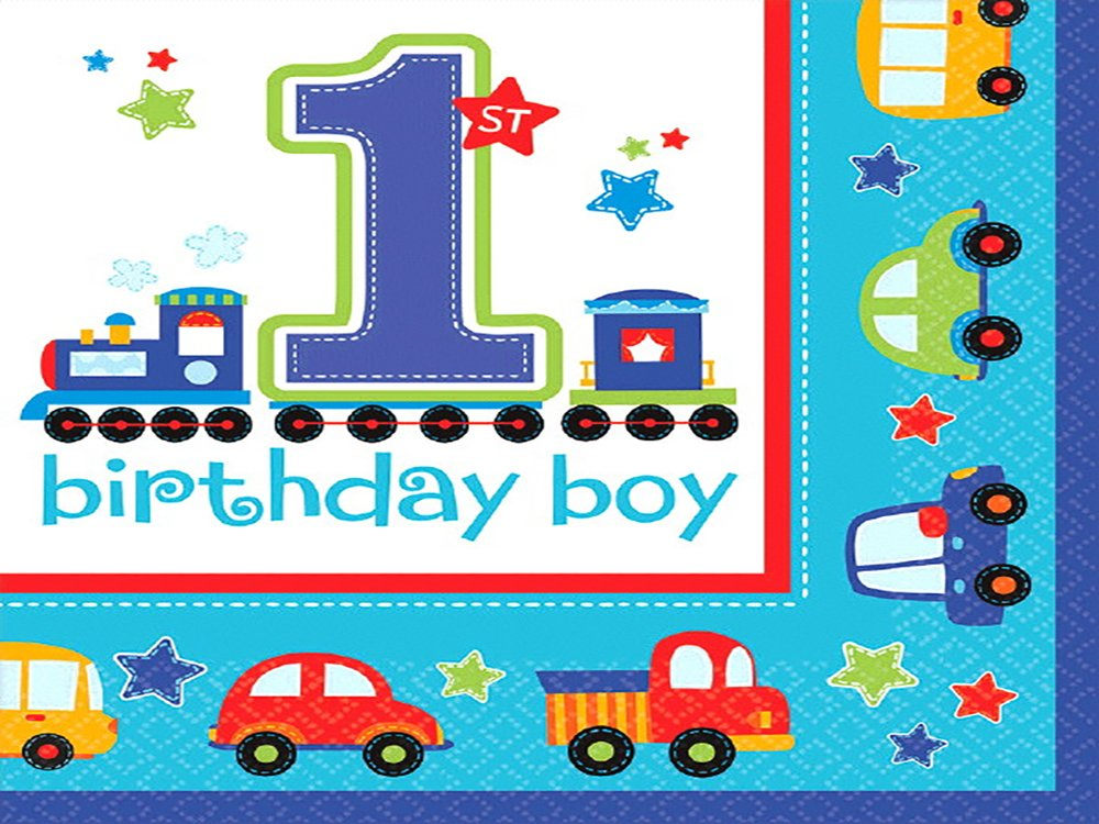 Amscan All Aboard! Birthday Luncheon Napkins Multi Colored Paper 65'' x 65'' Folded 36-Piece Others Party Supplies