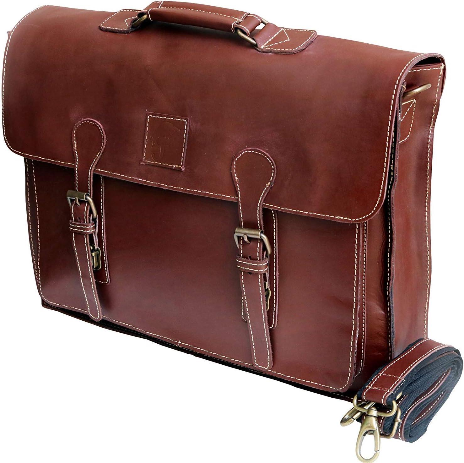 """18"""" buffalo leather messenger bag laptop case office briefcase gift for men computer distressed shoulder bag"""