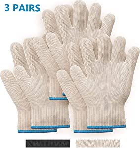 Killer's Instinct Outdoors 3 Pairs Heat Resistant Gloves Oven Gloves Heat Resistant with Fingers Oven Mitts Kitchen Pot Holders Cotton Gloves Kitchen Gloves Double Oven Mitt Set