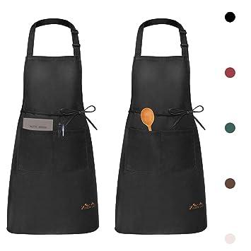 f06aa70b067 Viedouce 2 Piezas Delantales Impermeables Ajustables del Cocinero con  Bolsillo Cocina Delantale de Cocina para Mujeres Hombres,Delantal Chefs  Cocina para ...