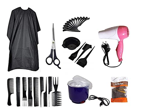 Confidence Combo Of Salon Accessories With Free Hair Dryer, Hair Cutting  Scissor, Wax Heater, Wax Beans For Professional Use, Pack Of 1