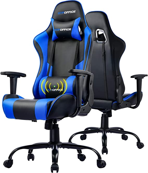 GTPOFFICE Gaming Chair Massage Office Computer Chair for Adult Reclining Adjustable Swivel Leather Computer Chair High Back Desk Chair Headrest and Massage Lumbar Support Cushion(Blue)