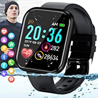 Smart Watch,Fitness Watch Activity Tracker with Heart Rate Blood Pressure Monitor IP67 Waterproof Bluetooth Touch Screen Android Smartwatch Sports Watch for Android iOS Phones Men Women Black
