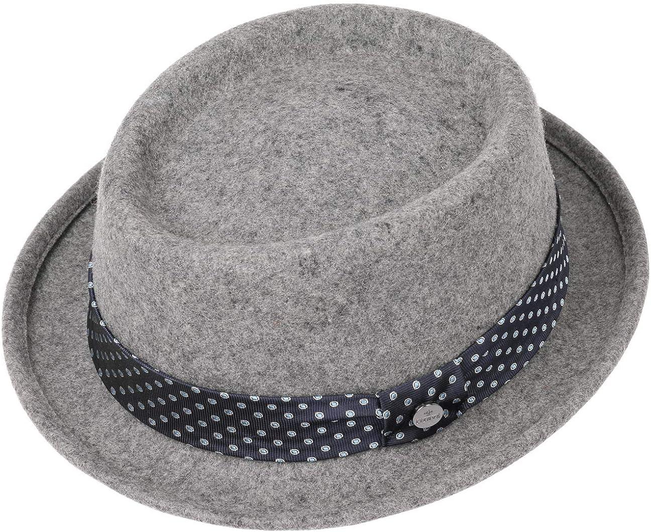Lierys Dotted Ribbon Porkpie Hat Men//Kids Made in Italy Men/´s Wool Felt with Grosgrain Band Summer-Winter