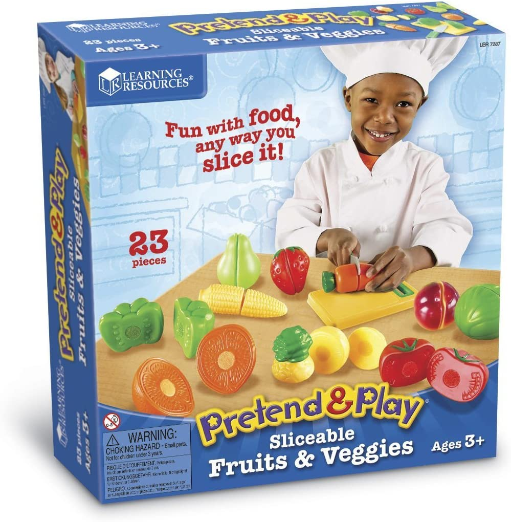 Learning Resources Pretend & Play Fruit, Cutting Fruits and Veggies Toy, Kids Play Food, Plastic Fruit & Veggies, Kitchen Toy, Ages 3+