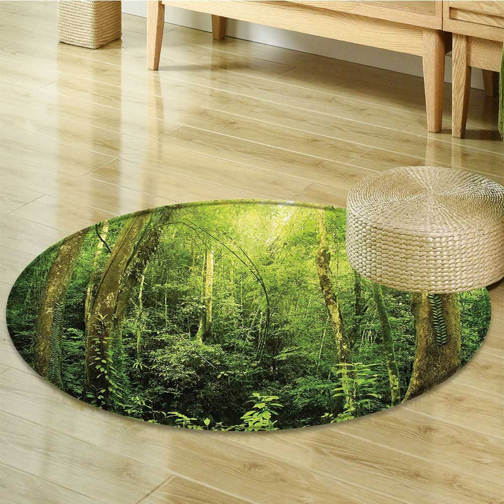 Rainforest Decorations Circle carpet By Nalahomeqq Tropical Rainforest Landscape Malaysia Asia Green Tree Trunks Uncultivated Wood Room Accessories Green-Diameter 160cm(63'')