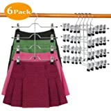 DOIOWN Skirt Hangers 4 Tier Pants Hangers Space Saving Hangers Closet Organizer for Skirt, Pants(6 Pieces)