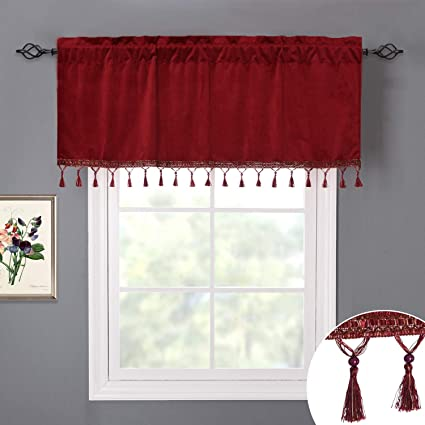 Red Valance Curtains For Kitchen Christmas Home Decoration Half Window Fringed Velvet Drapes Room Darkening Shade Blinds For Holiday Fete Party Bay