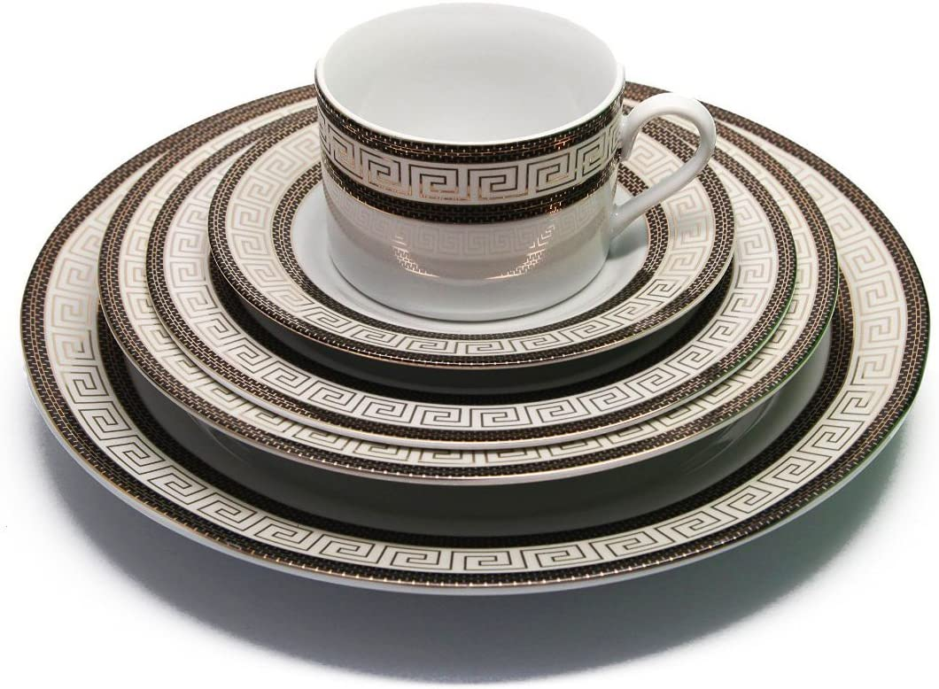 Royalty Porcelain 20-Piece Old-Fashioned White Dinnerware Set, Black Trim with Gold-plated Greek pattern, Service for 4