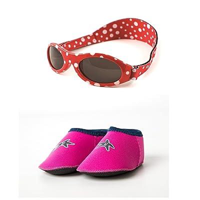 Yoccoes Paquet Cadeau Lunettes de Soleil Polka Dot Rouge Baby BANZ 0-2 Ans  Et Chaussons de Plage Bébé Shore Feet Bleu de Conception (6-12 Mois, ... 12f8bd78395a