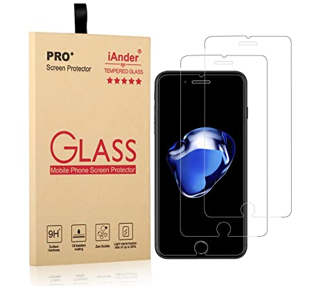 Amazon com: iAnder [Pack of 2] iPhone 8 Plus Tempered Glass