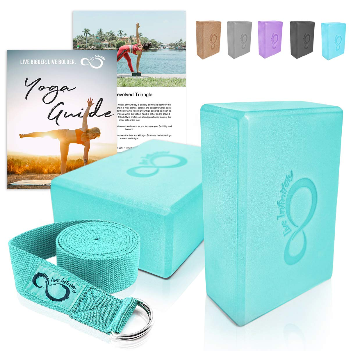 Premium Yoga Blocks & Metal D Ring Strap Yogi Set (3PC)