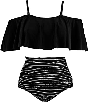 Image result for Cocoship women's ruffled bikini set off shoulder flounce falbala top tiered ruched high waist swimsuit