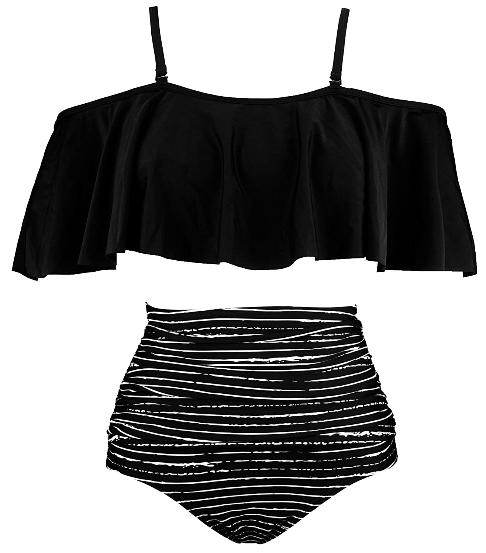Cocoship Women's Ruffled Bikini Set Off Shoulder Flounce Falbala Top Tiered Ruched High Waist Swimsuit(Fba) by Cocoship