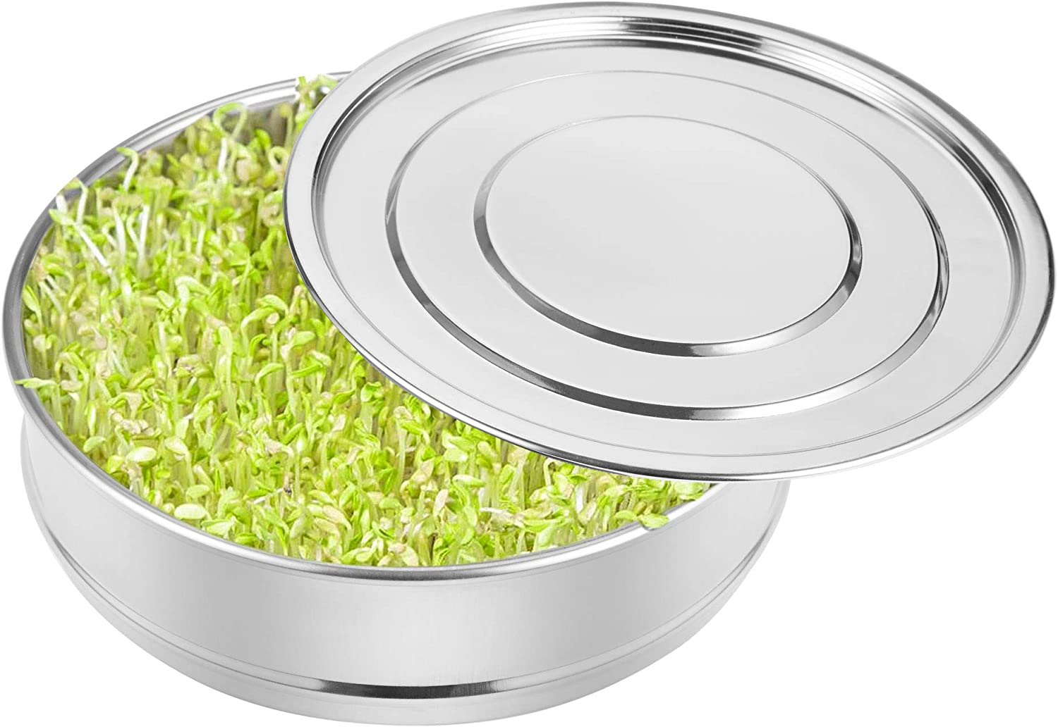 PURCOULEUR Stainless Steel Seed Sprouting Tray 8.3 Inch Kitchen Seed Sprouter Mesh Germination Trays Seed Germinator Starter Tray Growing Kit for Organic Broccoli Sprouts, Bean Sprouts