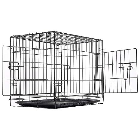 EUGAD Jaula Metálica para Perros Mascotas Dos Puertas Transportín Plegable para Mascotas Dos Puertas XL/