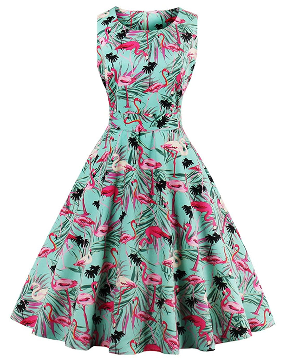 New Fifties Dresses | 50s Inspired Dresses Wellwits Womens Tropical Leaf Flamingo Hepburn 1950s Vintage Swing Dress $24.98 AT vintagedancer.com