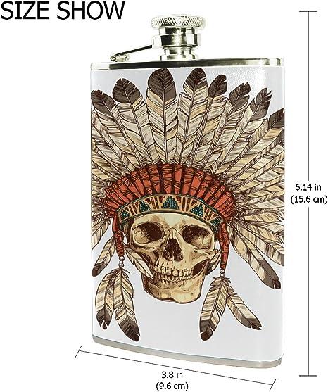 Petaca de bolsillo con tocado indio de ALAZA 236 ml, a prueba ...