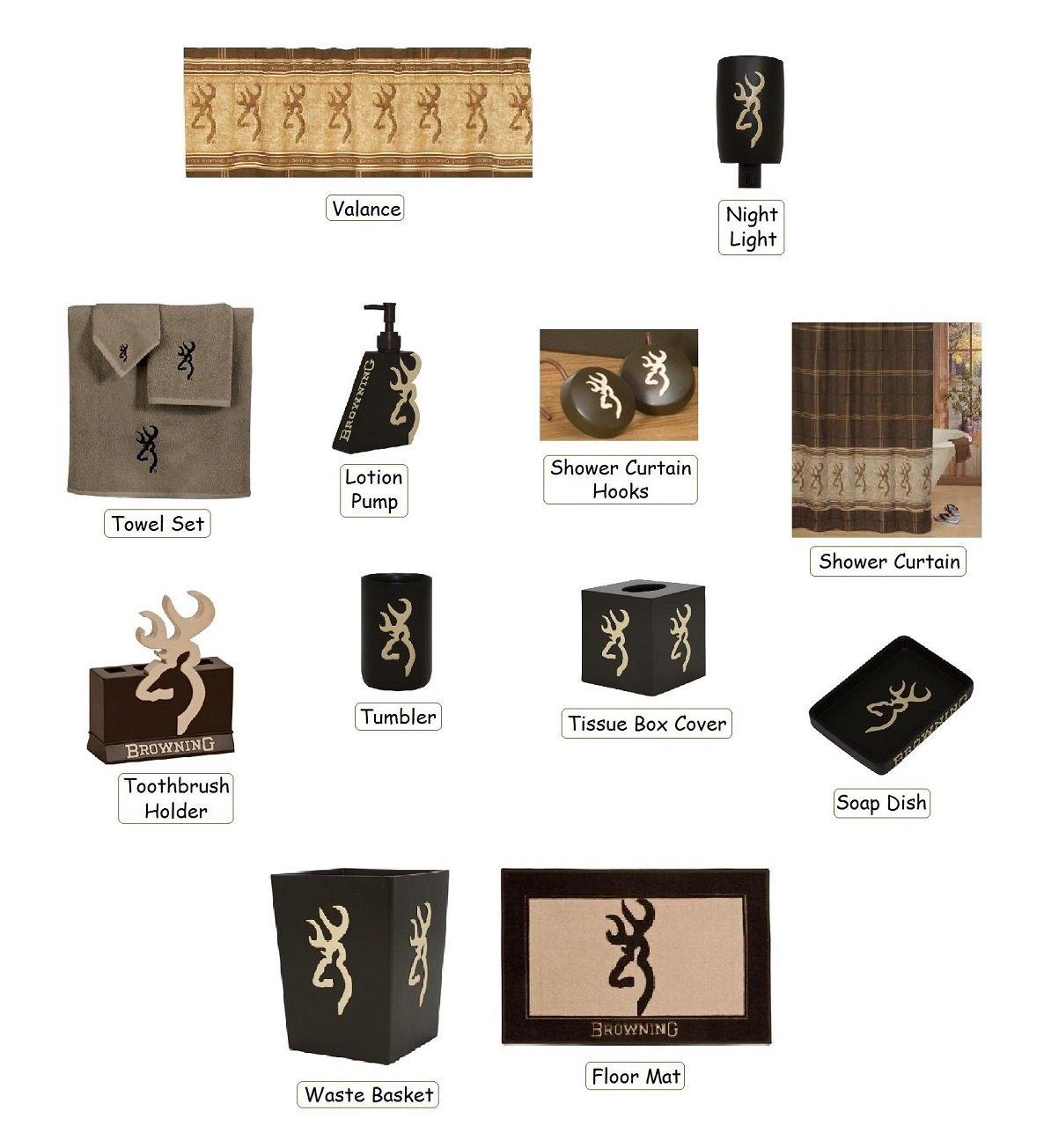 Camo bathroom decor - Amazon Com Browning Buckmark 25 Piece Bathroom Decor Accessories Set Tan And Brown Home Kitchen