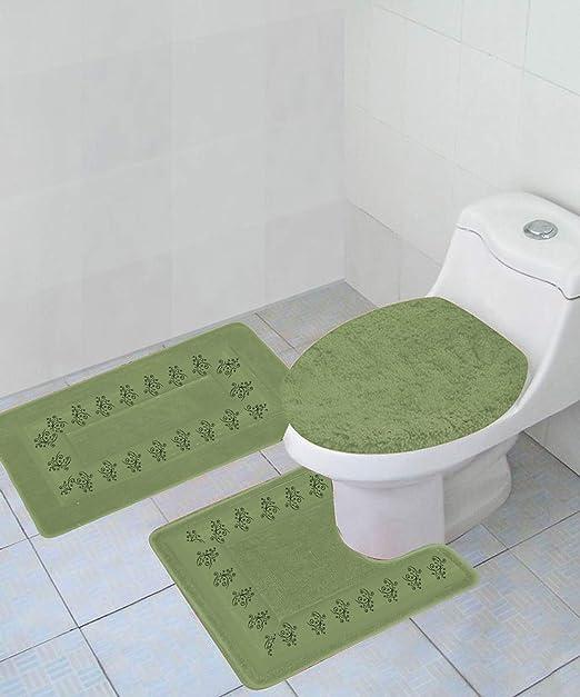 NEW 3PC BATHROOM SET 1 BATH RUG 1 CONTOUR MAT 1 TOILET LID COVER #6 SAGE GREEN