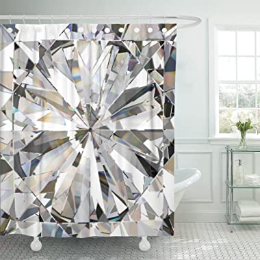 TOMPOP Shower Curtain Blue Crystal Realistic Diamond Caustic 3D Abstract Bling Light Waterproof Polyester Fabric 72 x 72 Inches Set with Hooks