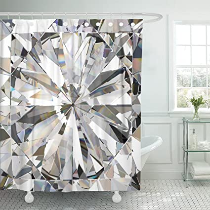 TOMPOP Shower Curtain Blue Crystal Realistic Diamond Caustic 3D Abstract Bling Light Waterproof Polyester Fabric 72