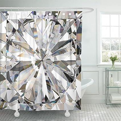 Amazon TOMPOP Shower Curtain Blue Crystal Realistic Diamond