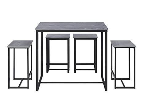 Abington Lane Kitchen Table Set with 4 Stools - Versatile, Tall, Modern  Table Set for Kitchen, Dining Room, and Living Room (Heathered Wood)