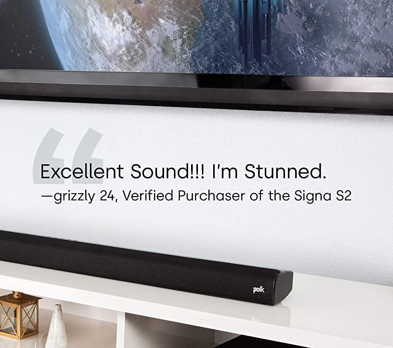Polk Audio Signa S2 Ultra-Slim TV Sound Bar Works with 4K and HD TVs Wireless Subwoofer Includes HDMI and Optical Cables Bluetooth Enabled