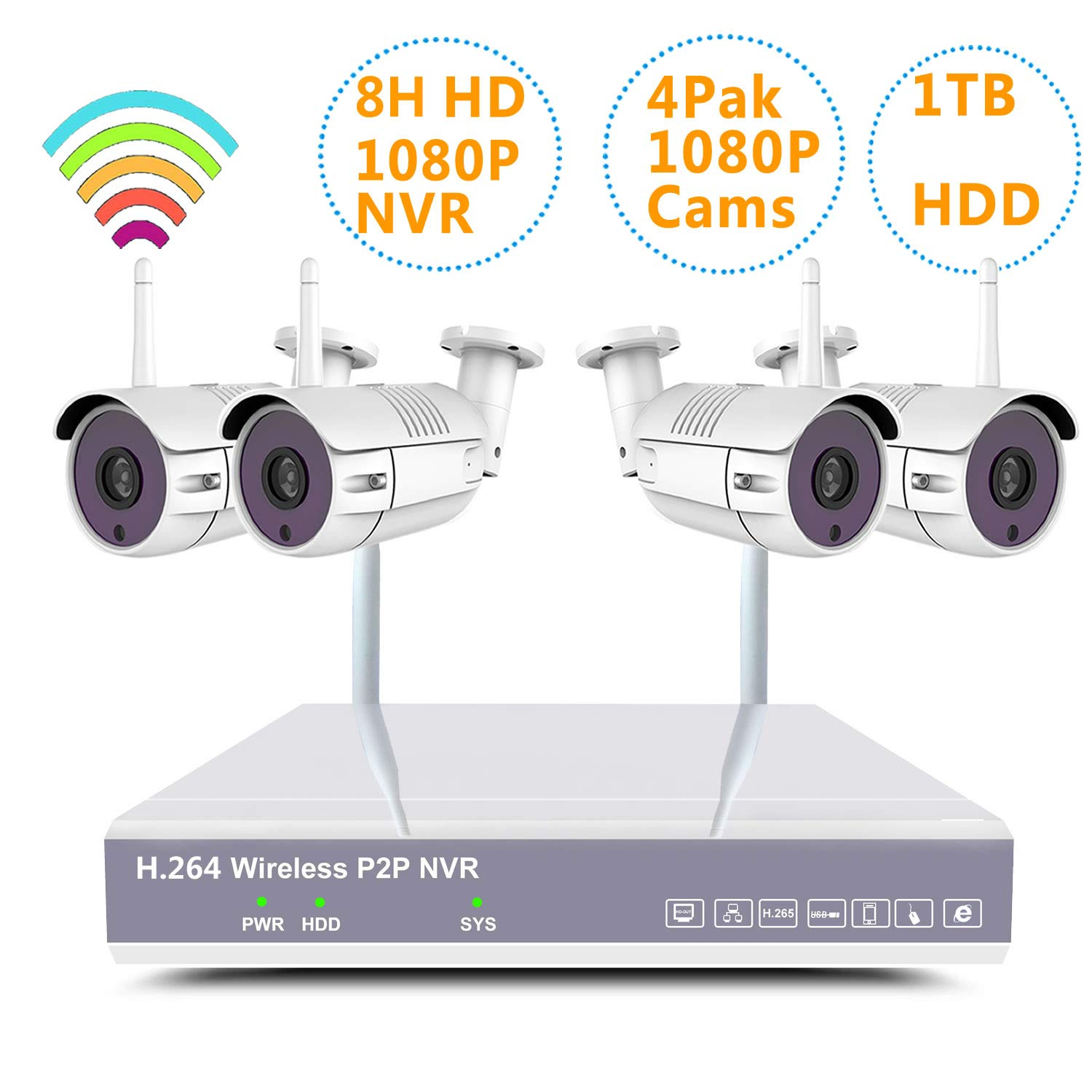 YXMN Home Wireless Security Camera System H.265 NVR kit Wireless Surveillance 4pcs Smart WiFi CCTV IP 1080P 2MP Night Vision Outdoor Video View Auto Pair 8ch NVR 4pcs1080Pcamera 1TBhdd