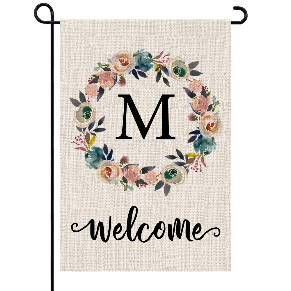 PARTY BUZZ Monogram M Garden Flag, Initial Letter Yard Patio Lawn Flag (12 x 18, Double Sided)