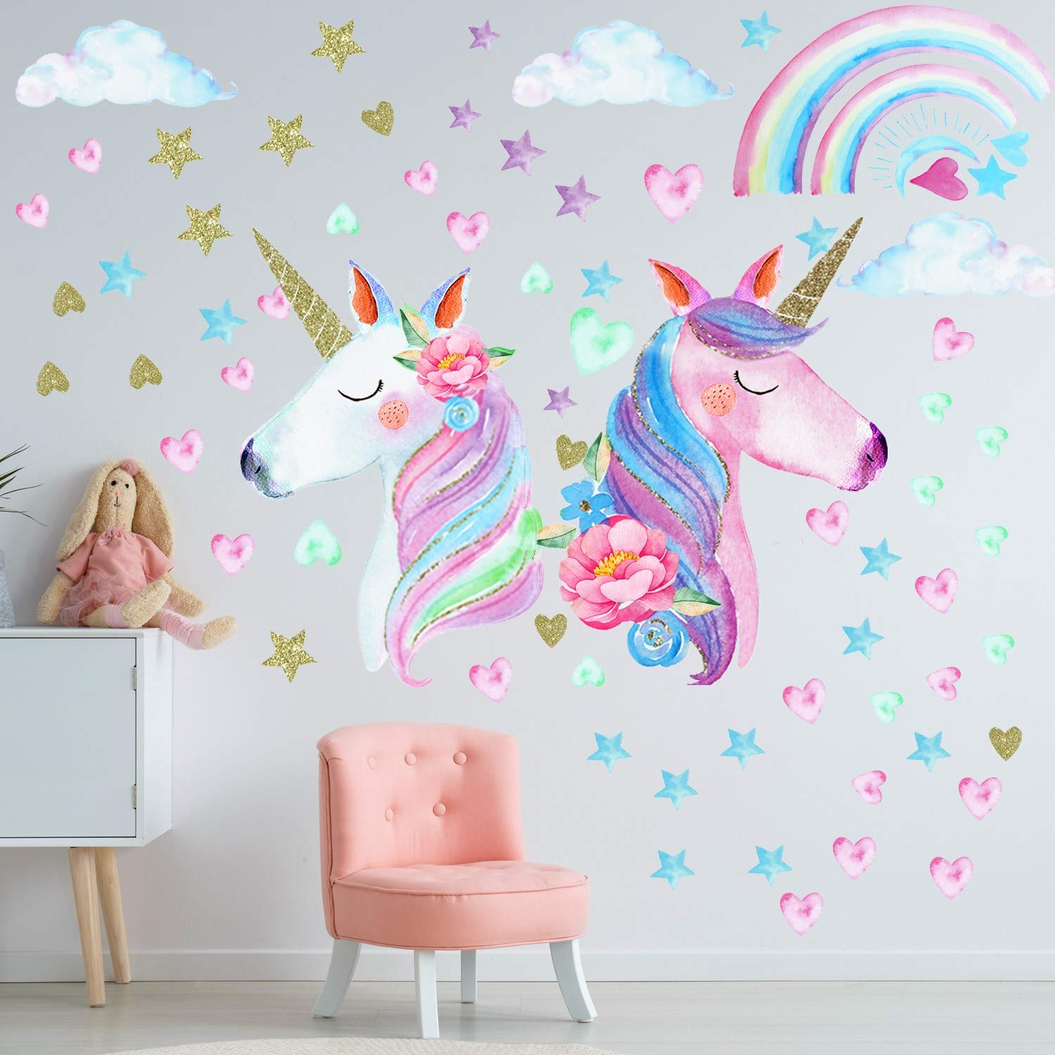 3 Sheets Unicorn Wall Decal Stickers, Large Size Unicorn Rainbow Wall Decor for Girls Kids Bedroom Nursery Christmas Birthday Party Decoration
