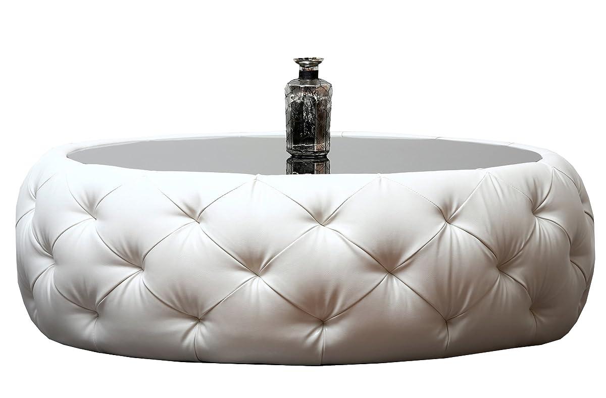 Abbyson Furrinno Round Leather Coffee Table