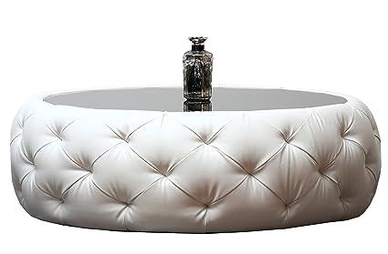 Charmant Abbyson® Furrinno Round Leather Coffee Table