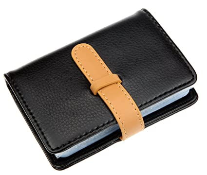dker pu leather credit card holder with 26 card slots book style size 42 x 3 x 07 inches black at amazon mens clothing store - Leather Credit Card Holder
