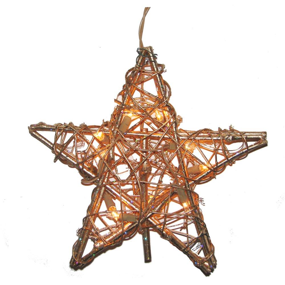 Shop amazon christmas tree topper kurt adler 10 light indoor rattan gold star treetop mozeypictures Choice Image