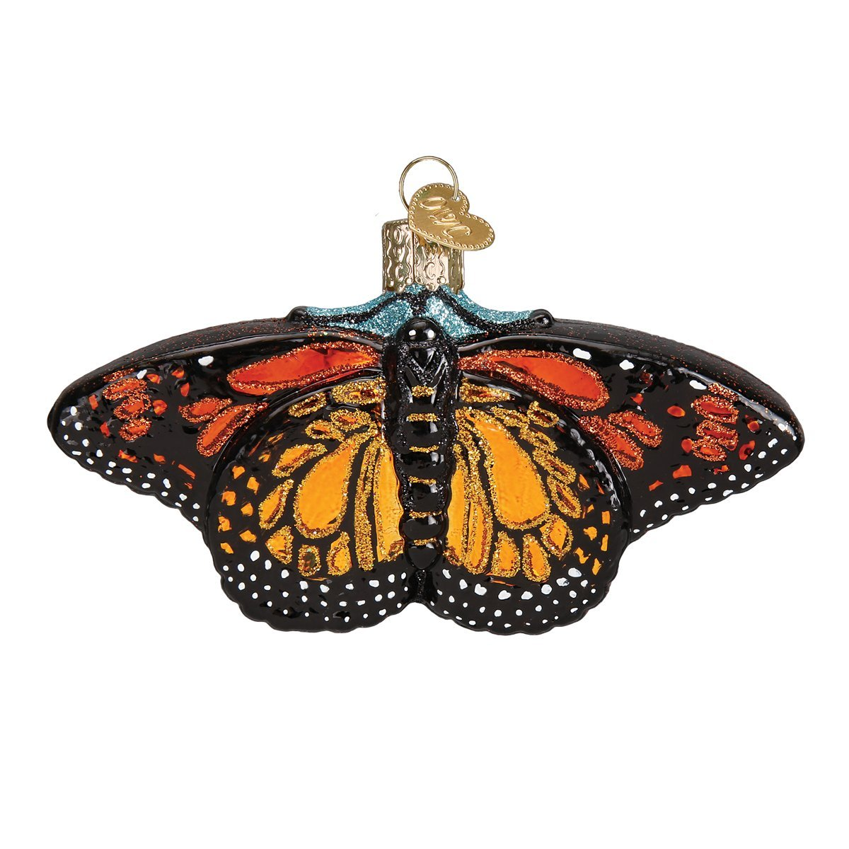 Old World Christmas Glass Blown Ornament with S-Hook and Gift Box, Animal Collection (Monarch Butterfly)